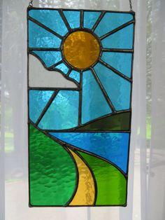 Sun, Sea, Sky! Beautiful Seascape Stained Glass Suncatcher - pewtermoonsilver