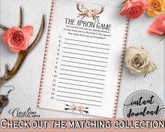 Gray and Pink Antlers Flowers Bohemian Bridal Shower Theme: The Apron Game - memory game, antlers and flowers, party supplies - MVR4R #bridalshower #bride-to-be #bridetobe