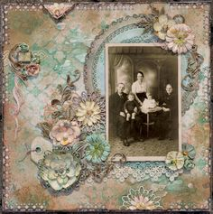 Four Generations ~ Gorgeous heritage page with beautiful doily and dimensional flower framing plus a softly dramatic color palette.