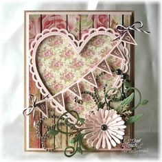 Stamps - Our Daily Bread Designs - Pennant Row,  Blushing Rose Paper Collection, ODBD Custom Fancy Foliage Die, ODBD Custom  Asters and Leaves Die, ODBD Custom  Ornate Hearts Die, ODBD Custom Pennant Row Die