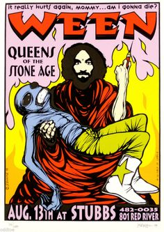 WEEN, Original CONCERT Poster S/N by Jermaine Rogers, QUEENS OF THE STONE AGE