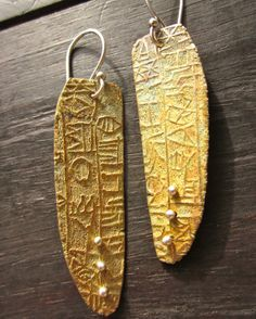 Bronze Tablet Ancient Text Earrings by celiefago on Etsy, $85.00