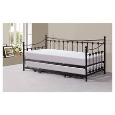 Cranmore Daybed with Trundle ClassicLiving Colour: Black - Black - Size: H X W X D Pop Up Trundle, Trundle Bed Frame, Trundle Mattress, Daybed With Trundle, Daybed Room, Futon Sofa, Single Day Bed, Day Bed Frame, Bed Frames