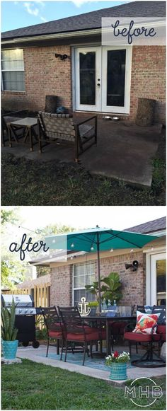 Patio Makeover - I love how achievable this patio is. Tons of seating, plants, string lights, umbrella, everything is great!