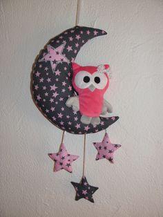 Décoration pour bébé, enfant, mobile , lune, chouette et étoiles : Jeux, peluches, doudous par joce06-bois-flotte