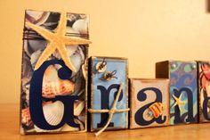 Beach Decor- Grandma Wood Blocks -Personalized Wood Letter Blocks- Ocean Decor- Starfish Decor via Etsy