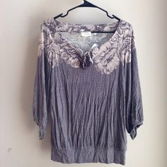 Deletta  Anthro top Deletta 3/4 sleeve top size xs, rayon/spandex, wide neck with keyhole tassel tie, gathers at sleeve cuffs, banded waist Anthropologie Tops