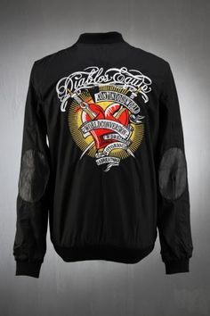 Embroidered Heart And Sword Custom Detail Flight Bomber Jacket