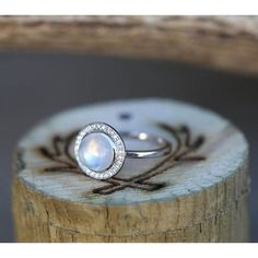 Womens Wedding Ring 14K White Gold Moonstone Diamond Halo Engagement... ($1,000) ❤ liked on Polyvore featuring jewelry, rings, 14k engagement ring, white gold wedding rings, 14k ring, wedding rings and moonstone engagement ring