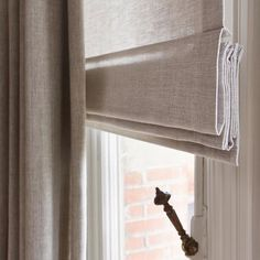 Soft light-filter roman blind with drapes over the top for room darkening effect. Interior Design Curtains, Interior Desing, Interior Inspiration, Modern Curtains, Linen Curtains, Curtains With Blinds, Window Curtains, My Living Room, Home And Living