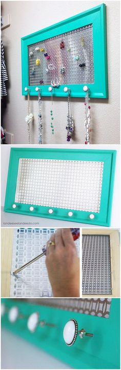 DIY Jewelry Organizer. Make your own pretty decorative organizer help keep your necklaces and earrings all in plain sight while also being so pretty!