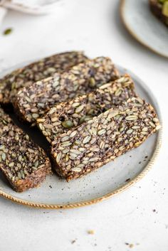 Hearty, vegan and gluten-free seed bread that's sugar-free, nut-free and high in fiber and protein. Easy to make in one bowl! Vegan Keto Recipes, Real Food Recipes, Vegan Meals, Vegan Food, Bread Recipes, Soup Recipes, Diet Recipes, Healthy Food, Healthy Recipes