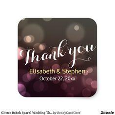 Glitter Bokeh Sparkl Wedding Thank You Sticker