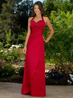 A-Line/Princess Halter Floor-Length Satin Bridesmaid Dress With Ruffle Beading…