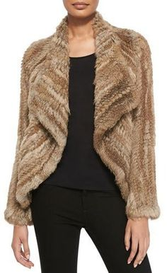 Belle Fare Open-Front Knitted Rabbit Jacket