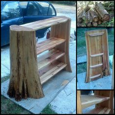 Rustic Log Bookshelf
