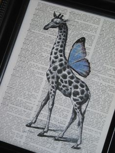 Steampunk Giraffe Blue Wings Dictionary by HamiltonHousePrints, $8.00