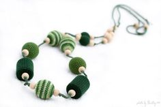 Forest Green Emerald Nursing mom Necklace  Crochet by MagazinIL, $28.00