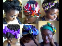 How to tie headwraps in a number of ways - Wow, we did Scarf 2, Style 1 WAY back in my college days.  Love these ideas!