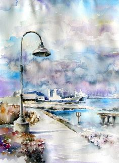 San-Francisco, Seaport - bright watercolor landscape, lantern, ships, painting