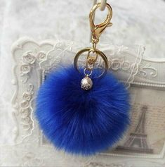 LLIND Home Sequin Cat Pom Pom Ball Key Chain Key Ring Keyring Keyfob Handbag Pendant Keychain Charm Blue Color : Blue