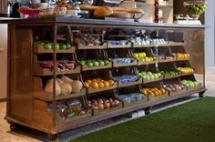 What a fantastic way of storing and selling fruit and veg, makes it look so tempting.