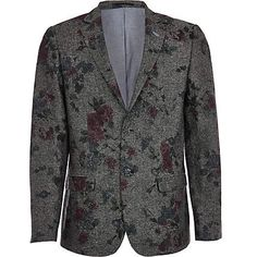 Dark grey floral print blazer with button fastening and two flap over pockets #fbloggers