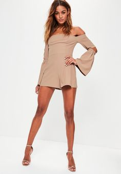 Missguided - Nude Bardot Elbow Slit Flare Sleeve Romper
