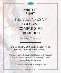There's way more to OCD than washing your hands or arranging things. Time to bust some myths and explore the subtypes of obsessive-compulsive disorder. Writing Advice, Writing Resources, Writing Help, Writing A Book, Writing Prompts, Relationship Ocd, Relationship Addiction, Compulsive Behavior, Obsessive Compulsive Disorder