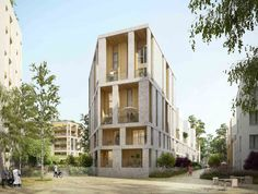 Oyapock Architectes - project 58 collective and intermediate housing in Montr . Modern Residential Architecture, Residential Complex, Facade Architecture, Sustainable Architecture, Architect Logo, Architect Design, Great Buildings And Structures, Modern Buildings, Habitat Collectif