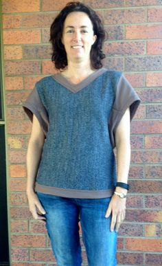 The Kimono Sweat by Fehr Trade has 2 tops in the one pattern, both of which I can show you today. View B is a sleeveless tank with deep a. Post Workout, Blues, Kimono, Cover Up, Feminine, Tunic Tops, Couture, Patterns, Sewing
