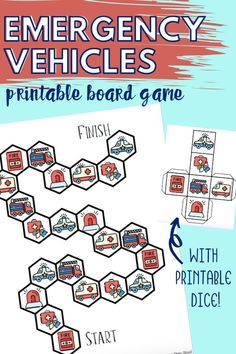 This emergency vehicles printable board game is great for toddlers and preschoolers. Simply print and assemble, then play!  #printableboardgame #emergencyvehicles #communityhelpers #toddlers #preschool #printablegames #kidsactivities