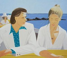 """Rackstraw and Pamela 1976 - Alex Katz. From Still Water on Katz: """"The women are all pretty, the men are mostly poets, and everything is offered up without irony, critique, or psychological complexity. It's like a Gatsby summer in which the fall (in both senses) never comes.At one point he observes, """"the distinctions between illustration and painting are muddy. And the edges between decoration and beauty are not clear either, because all beautiful things are a little decorative."""""""