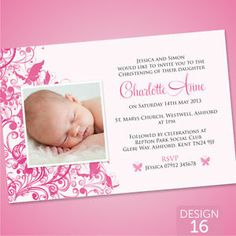 Personalised Christening Baptism Invitations Cards - Baby Girl - Butterfly   eBay