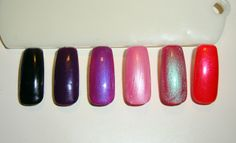 CND Shellac (left to right) - Black Pool, Rock Royalty, Tuttti Fruitti over Rock Royalty, Strawberry Smoothie over Gotcha, Iced Coral over Wildfire, Hot Chilis over Tropix