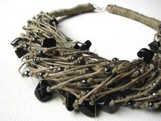 Black ONYX raindrops  linen necklace by GreyHeartOfStone on Etsy
