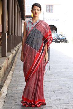 Red Post Box Saree from FashionMarket.lk