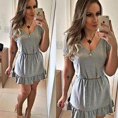 vestido-cinza-mescla-babado-soltinho