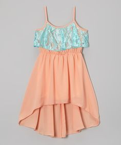 Look what I found on #zulily! Mint & Coral Chiffon Ruffle Dress - Girls by Maya Fashion #zulilyfinds