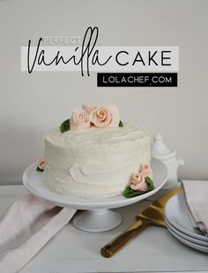 Easy homemade recipe for making a vanilla cake from scratch that comes out perfect every time. Best Dessert Recipes, Fun Desserts, Delicious Desserts, Cake Recipes, Delicious Vanilla Cake Recipe, Vanilla Cake From Scratch, Crockpot Hot Chocolate, Small Cupcakes, Sweet 16 Cakes