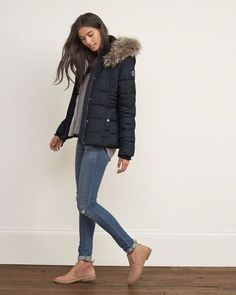 Womens A&F Premium Puffer Jacket | Womens Outerwear & Jackets | Abercrombie.co.uk