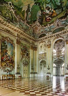 Interior of the The Nymphenburg Palace, Munich, Germany.  The palace, together with its park, is now one of the most famous sights of Munich.  The baroque facades comprise an overall width of about 700 metres.  Some rooms still show their original baroque decoration while others were later redesigned in rococo or neoclassical style.  Photo: google+