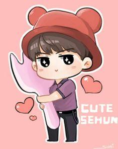 Boy Cartoon Characters, Exo Cartoon, Chibi Exo, Sehun Cute, Exo Fan Art, Exo Lockscreen, Cute Chibi, Kpop Fanart, Suho