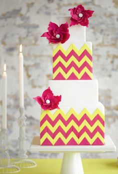 Yellow & Red Chevron Wedding Cake Photo
