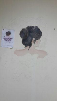 الرسم على الحائط لمقرر تصميم اﻻزياء رسم افنان السعدي