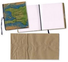 homemade journal with a brown paper bag! would be great project for kids.