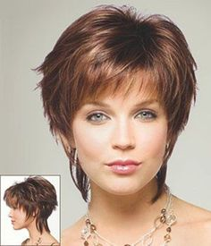 Okay, this may be what I'm looking for--short around the face and some length at back. Love the messy look!
