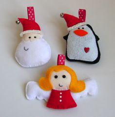Set of 3 Christmas Ornaments - Santa, Penguin & Angel. $12,00, via Etsy.