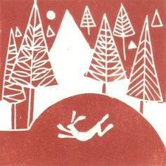 Items similar to Set of Two Christmas Hand Printed Cards - Winter Hare and Bird of Peace in Red . on Etsy