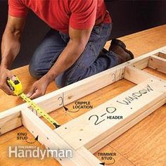 Wall Framing Tips for New Construction Learn the simple framing techniques that ensure accurately built, tightly framed walls. This article explains the basics of marking up and laying out a wall, along with tips about headers, trimmers and studs. Custom Woodworking, Woodworking Projects Plans, Framing Construction, Basement Construction, Residential Construction, Build A Wall, Building A Shed, Building Ideas, Building Plans